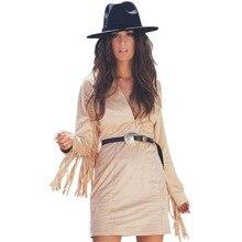 Summer Deep V-Neck Retro Tassel Dress Unique Western Cowboy Khaki Brown Full Medium Lady Dresses Fashion European Style Dress