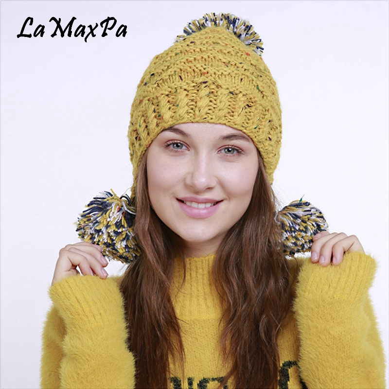 2018 Newest Spring Hat For Women Kintted Striped Hats Female Warm Cotton   Skullies     Beanies   With Pompom Women's Popular Cap