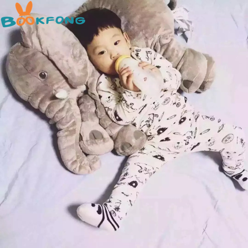 BOOKFONG 1PC 40/60cm Infant Soft Appease Elephant Playmate Calm Doll Baby Appease Toys Elephant Pillow Plush Toys Stuffed Doll 3