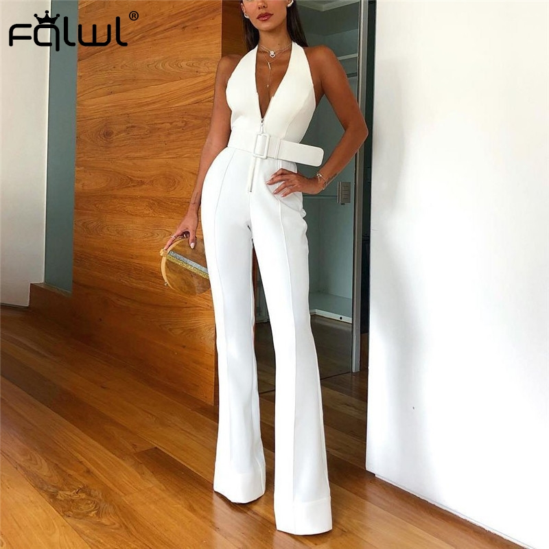 FQLWL Halter Wide Leg Sexy Bodycon Summer Jumpsuit Women Overalls Sashes Backless White Skinny Rompers Womens Jumpsuit Female