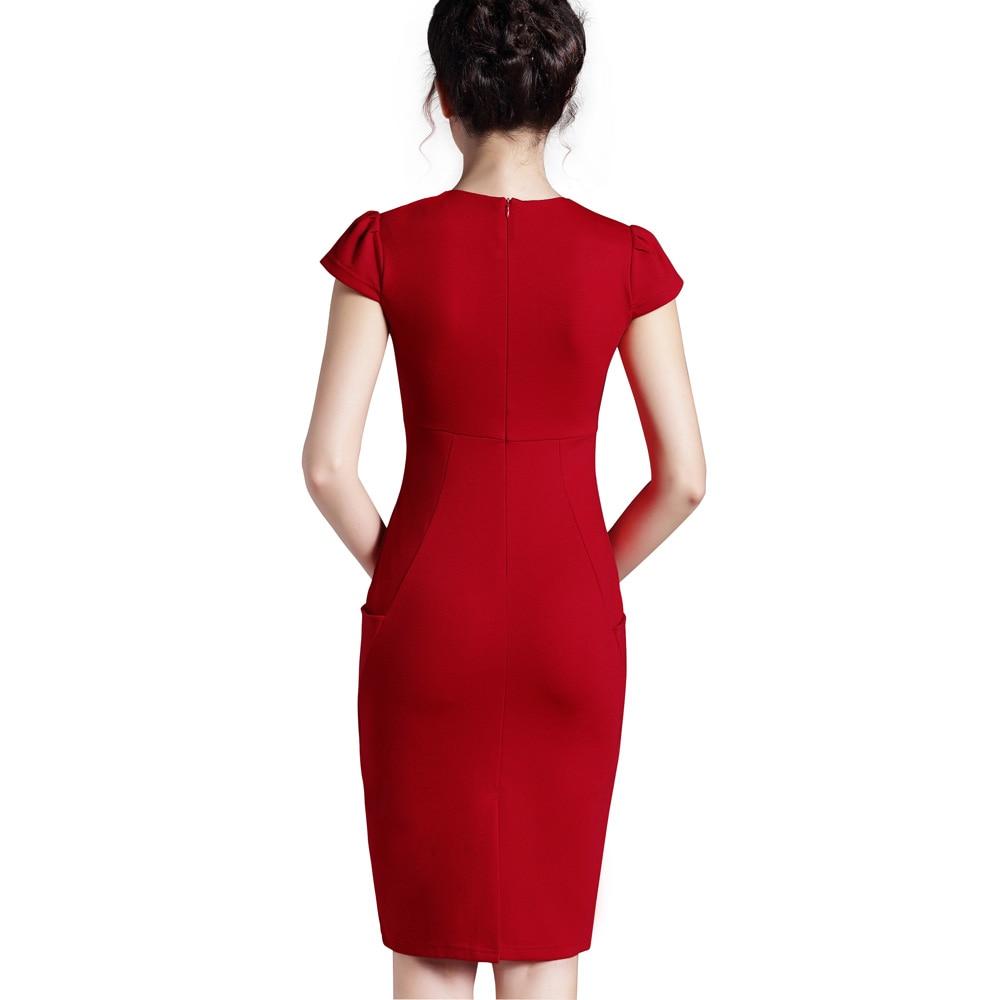 Nice-forever Office Women Vintage Summer Solid Deep V neck Zipper Back Formal Stretch Pencil work Bodycon Pocket Dress 521 3