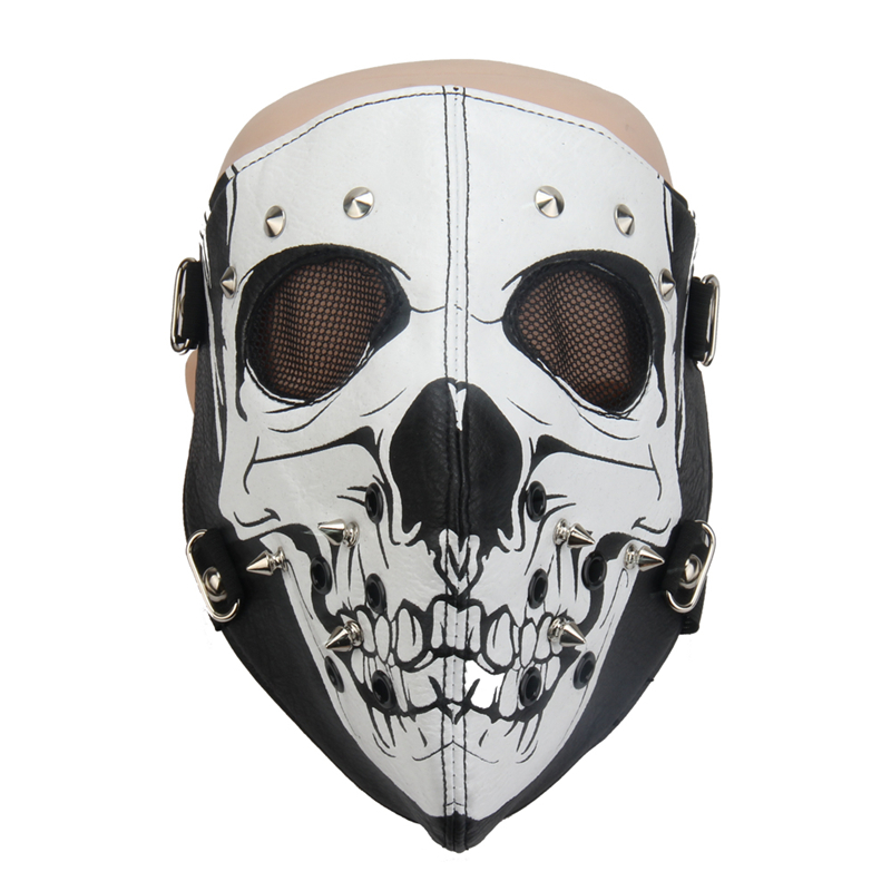 PU Leather Skull Full Face Mask Punk Motorcycle Biker Cosplay Mask Breathable Anti-Dust Sports Women Men Hip Hop Rivets Mask