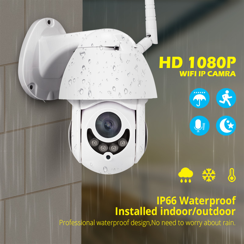FUERS Voice Intercom APP Control Night Vision Motion Detection 1080P HD 2MP Indoor Outdoor Waterproof PTZ WiFi IP CameraFUERS Voice Intercom APP Control Night Vision Motion Detection 1080P HD 2MP Indoor Outdoor Waterproof PTZ WiFi IP Camera