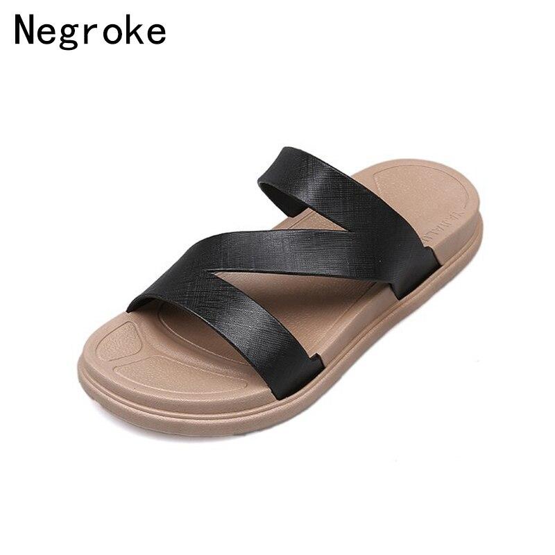2018 New Summer Slippers Women Slides Cross Strap Open Toe Platform Sandals Slip On Flat Casual Shoes Woman Beach Flip Flops стоимость