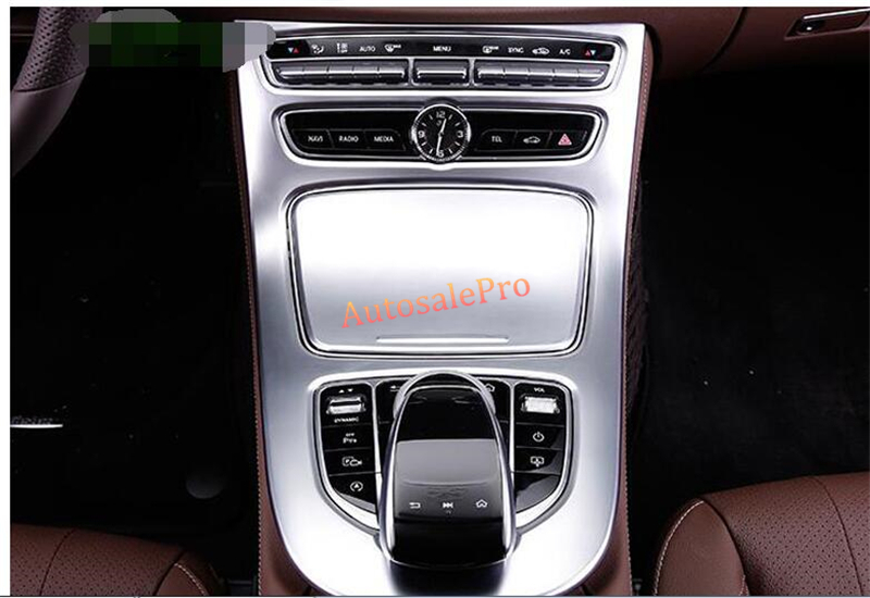 ABS Chrome Matt Console Front Gear Shift Panel Box Cover Trim 2pcs for Mercedes Benz E Class W213 2016 2017