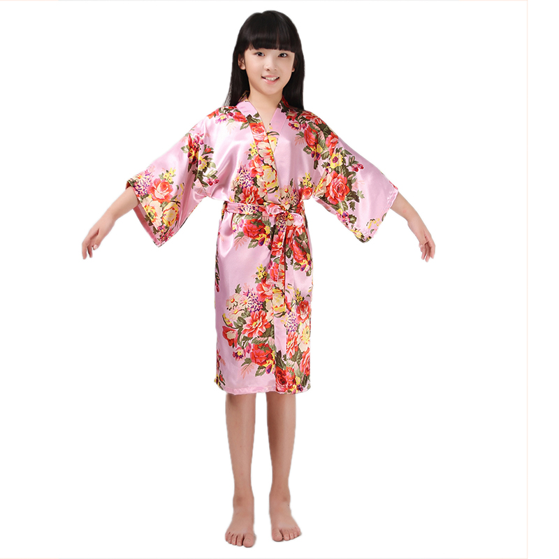 Kids Little Girls Teenagers Stain Kimono Peacock Flower Robe for Spa Wedding Birthday Bathrobe Nightgown  2-14Years