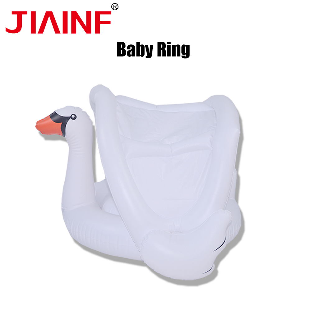 JIAINF Kids Children Air Mattress for Swimming white swan with Awning cute animal high quality pvc inflatable toys pool float