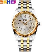 SKMEI 2017 Новый популярный Бренд Мужчины женщины любовника мода Часы аналоговые кварцевые часы 30 М водонепроницаемый авто дата нержавеющей стальной ленты