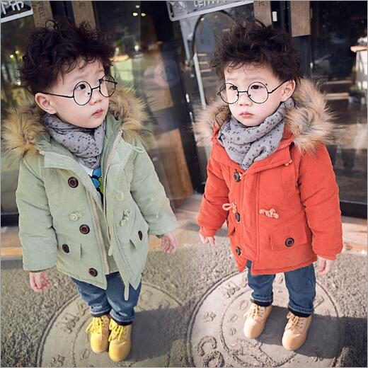 Fur Collar Boys Girls Jackets Winter Coat Long Sleeve Boys Coat Hooded Kids Clothes Fashion Thick Warm Children Clothing 2 Color new korean version winter children s clothing baby girls thick fur collar hooded coat fashion casual children cotton warm coat