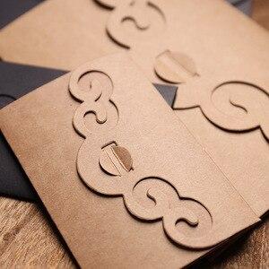 Image 4 - 50 pcs/lot créatif évider papier Kraft épaissir enveloppes pour anniversaire noël mariage écriture papier cadeau papeterie