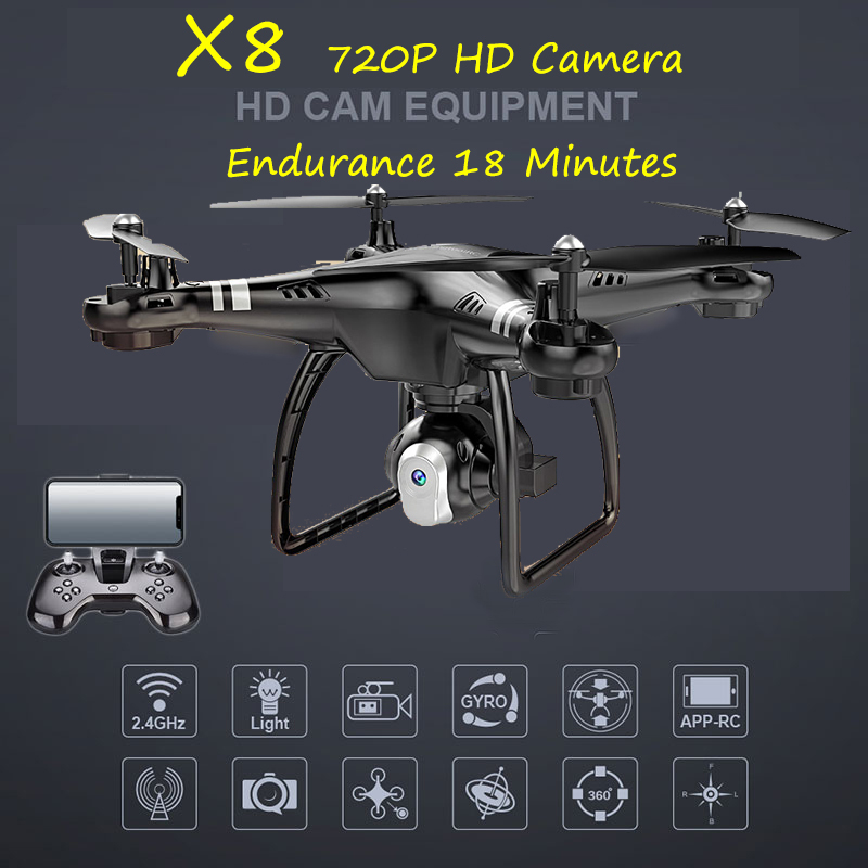 X8 ABS 2.4GHz Remote Control Quadcopter 720P HD Camera Intelligent Altitude Hold 8520 Motor 360 degrees rolling Six-axle Drone