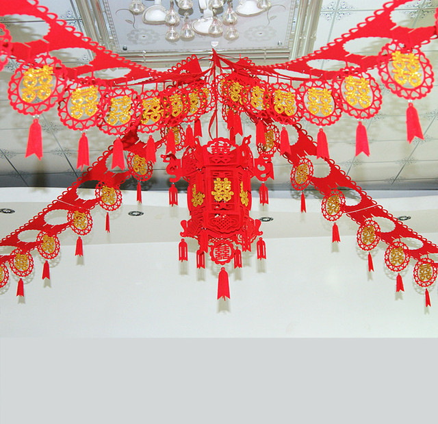 3m Long Chinese Character Wedding Accessories Red Double Happiness
