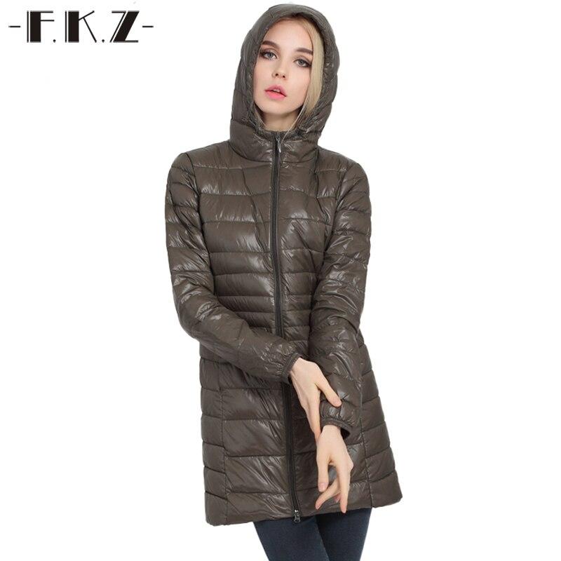 FKZ 2017 New Winter Down Coat Women Thin Outerwear Slim Hooded 90% White Duck Down Long Down Parka Warm Coats SKC0202