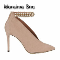 Moraima Snc beige women pumps crystal V Type sexy high heels pumps ankle strap pointed toe stiletto chaussures femme schoenen