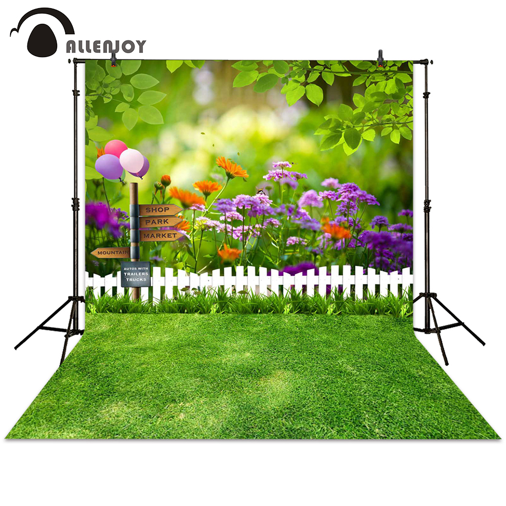 Allenjoy photography backdrop spring garden sign fence flower grass plant background photocall photographic photo studio