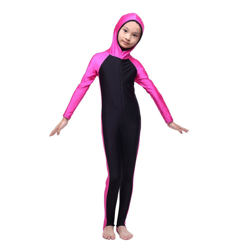 Muslim Girls Full Cover Swimwears Islamic Children One-piece Hooded Swimsuits Arab Islam Beach Swimming Diving Suits Burkinis