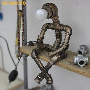 Loft Vintage lampe de Table industrielle créative fer tuyau d'eau lampes de Table LED lampe de bureau pour café Bar Robot forme lampe de bureau LED Lampes de Table     -
