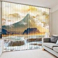 패션 현대 홈 장식 3D 커튼 자연 풍경 두꺼운 커튼 직물 정전 3D 창 커튼