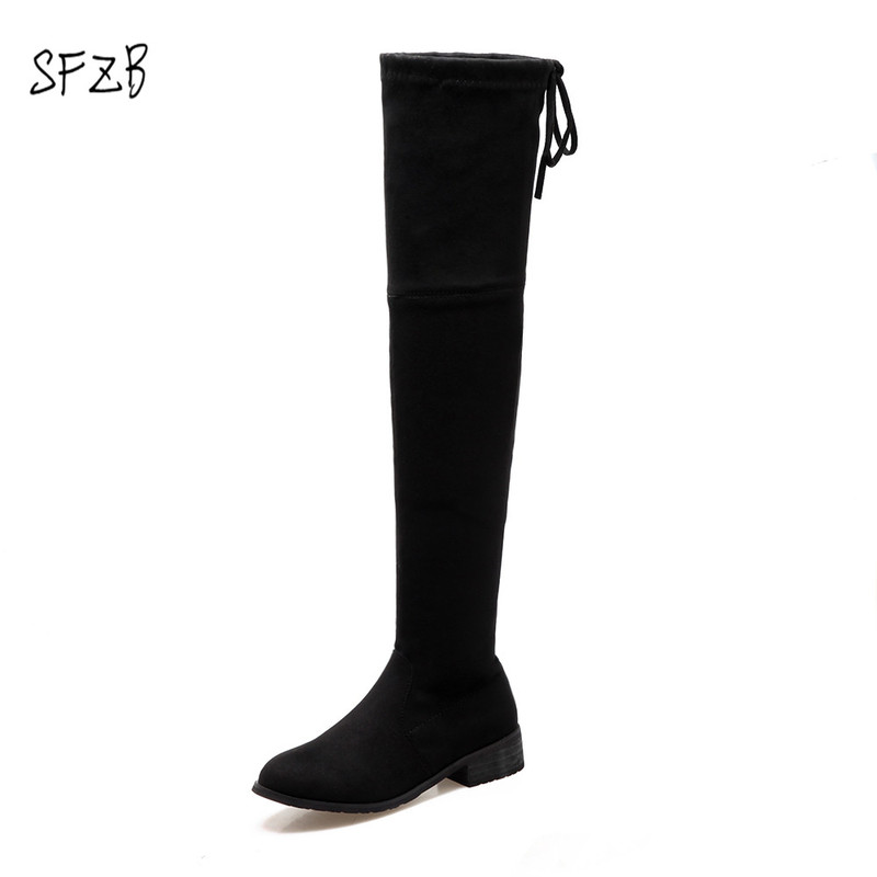 SFZB Stretch boots elegant contracted autumn women boots square heels boots over the knee boots zipper solid