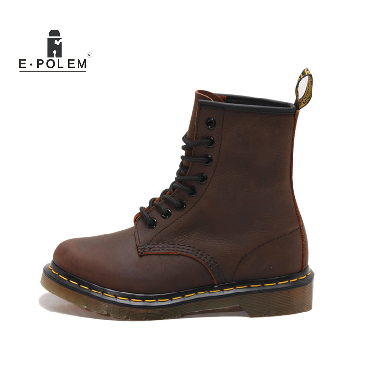 2018 New England Style Women Genuine Leather Black Ankle Martin Boots Tide Winter Fashion Unisex Gothic Retro Motorcycle Boots