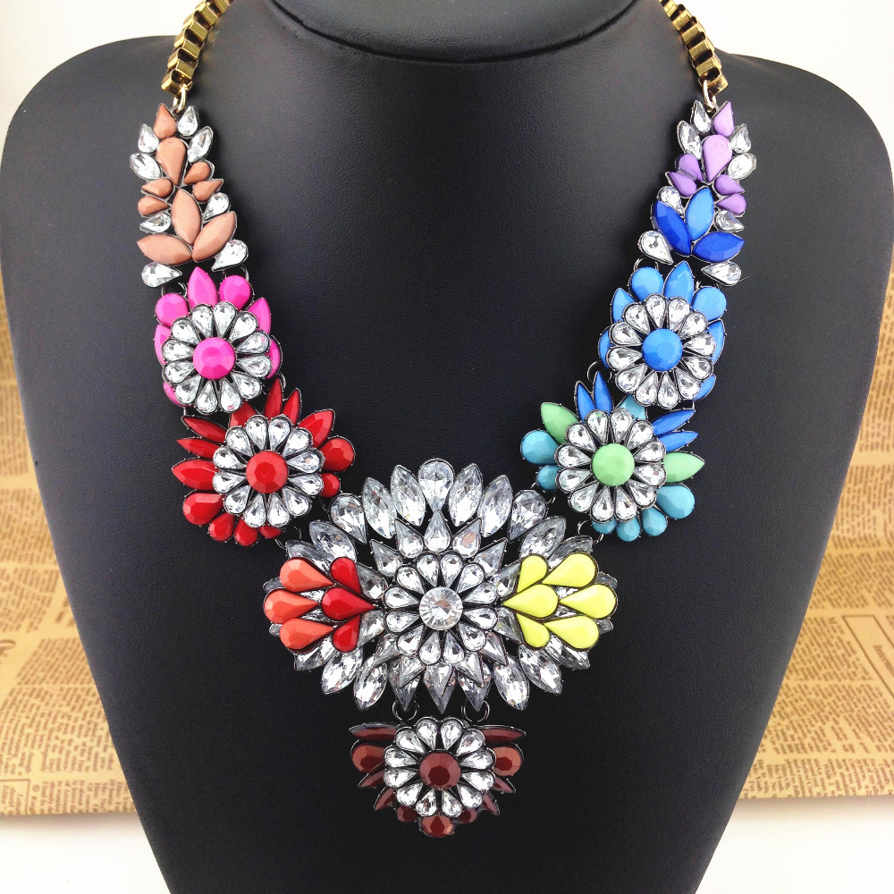 Free shipping hot new design shourouk style necklaces pendants colorful gem stone choker Design and style fashion jewelry