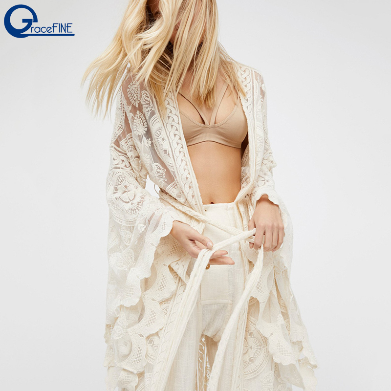 Bohemia Flare Sleeve Sexy White Lace Long Kimono Cardigan Shirt Tops Beach Clothes Boho Shirts Womens Blouses Autumn Outwear