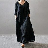 Hiver Dress Manches Longues Solide Couleur Noir Orange Violet Femmes plein Dress Coton Lin Femmes Dress Plus Size Casual Maxi Dress