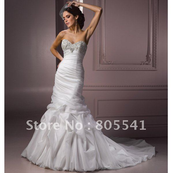 Free Shipping Luxury Mermaid Sweetheart Beaded Ruched Organza Wedding Dress Maso J1449 With High Quality