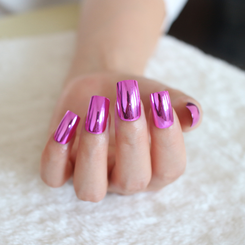 24pcs/set Shiny Rose Red Metallic Acrylic Fake Nails Long Mirror ...