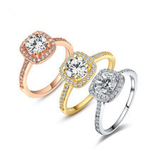 BOAKO silver plated Plated Wedding Rings For Women Square AAA cubic zircon Jewelry Bague Bijoux Femme Engagement ring X7-M2
