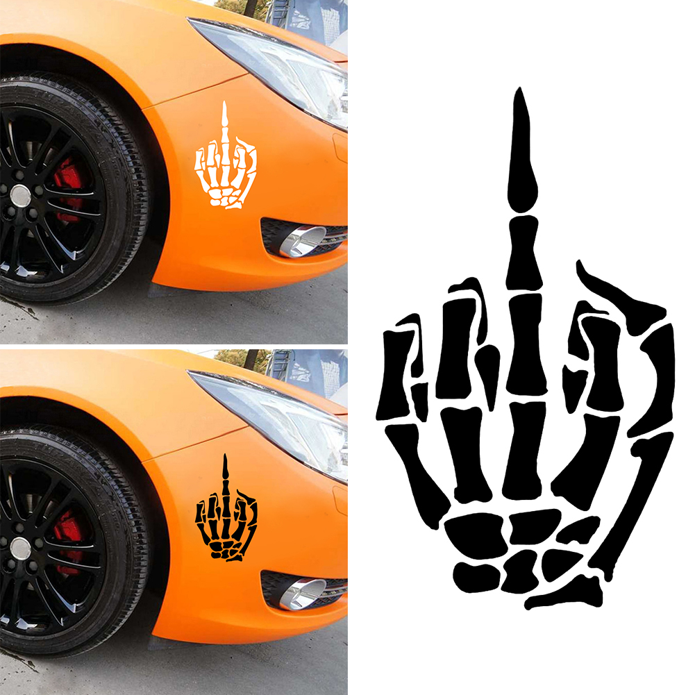 Hot Sale Car Styling Skeleton Middle Finger Sticker Skull Bone Bone ... 5cd47ad5fdf