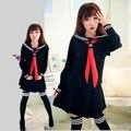 JK Японская Школа сейлор единая школа моды класса темно-моряк школьная форма Косплей девушки костюм 3 Шт./компл.