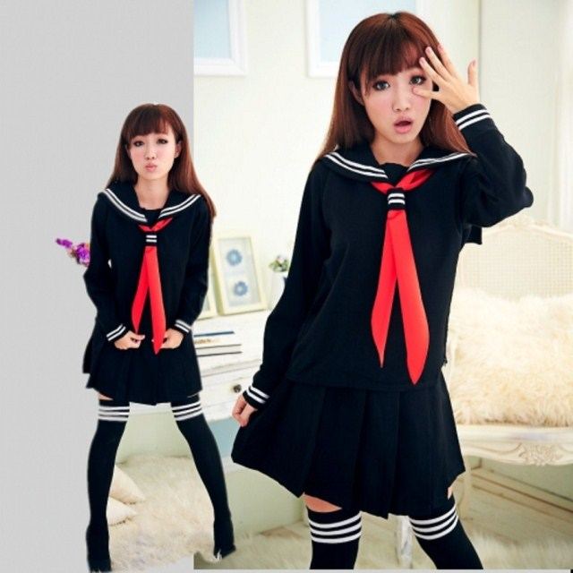 JK Japanese School sailor uniform fashion school class navy sailor school uniforms for Cosplay girls suit 3 Unids / set
