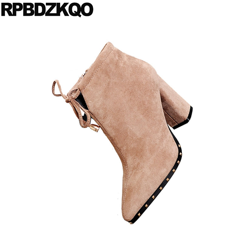 Zip De Goujon Rivet Pointu Noir Femmes khaki Hiver Marque Bloc Britannique Automne Chaussures Hauts Chunky Côté Bout Fourrure Court Bottes À Talons Suede Arc Chaussons wz7qI6z