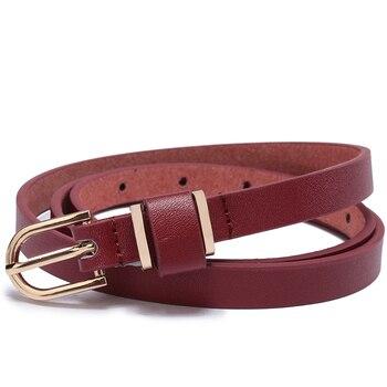 Women's Skinny Leather Belt Solid Color Waist or Hips Ornament 10 Sizes 1.5cm Wide Leopard Waistband Cummerbund Ladies and Girls 8