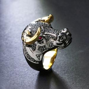Image 3 - DreamCarnival 1989 массивное кольцо черного быка с золотыми рожками в стиле панк хип хоп CZ для мужчин и женщин, уличная мода SR2314