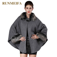 Womens Capes And Ponchoes 2016 New Autumn Winter Wool Coat Womern Removable Raccoon Hooded Fur Poncho Manteau Femme Cloak