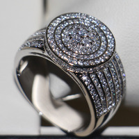 2016 New Women Fashion Jewelry 925 Sterling Silver Topaz Simulated Diamond Gem Wedding Band Ring For