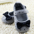 Newest Cute Baby Girls Slip-On Cotton Cloth Prewalker Gray Polka Dot Crib Shoes