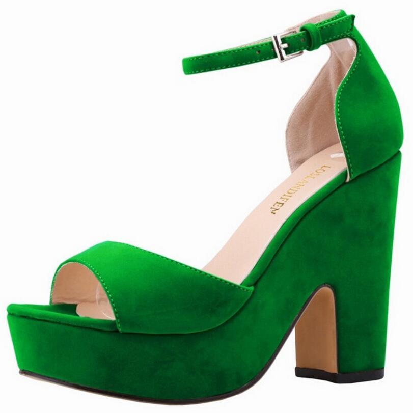 ФОТО {D&H}Shoes Woman Ankle Strap High Heels Sandals Women Thick Heel Platform Sandals Vegetation Green Shoes sandalia feminina