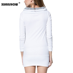 2018 Autumn Winter Women Bodycon Dresses Patchwork Long sleeves Turn-down Collar Wool Rivet Mini Casual Dress Vestidos 10