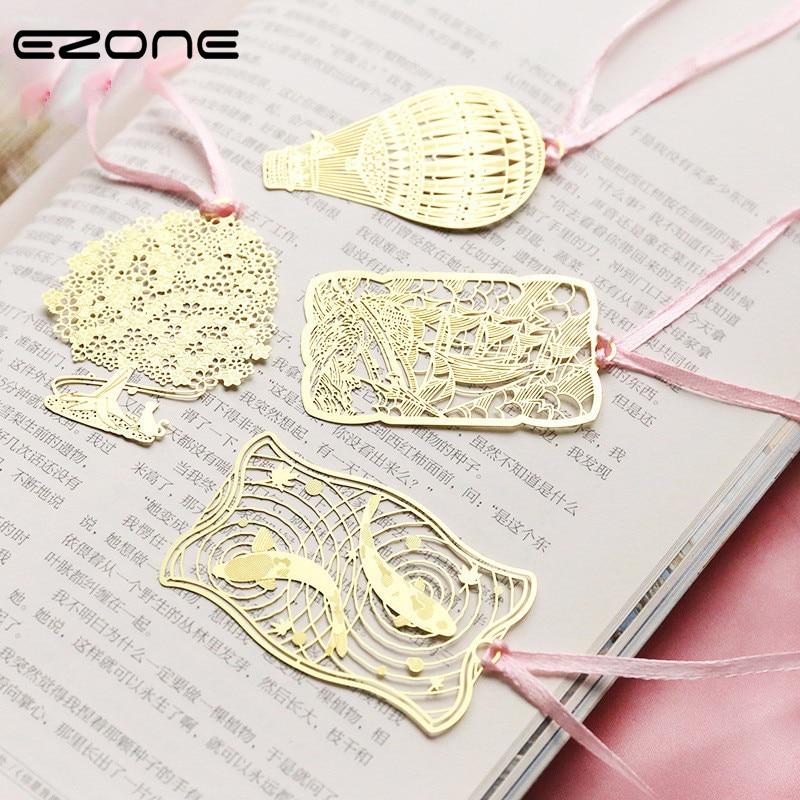 EZONE 1PC Gold Metal Bookmark Golden Hollow Hot Tassel Bookmark Vintage Style Cartoon Animal Heart Shape Metal Bookmark
