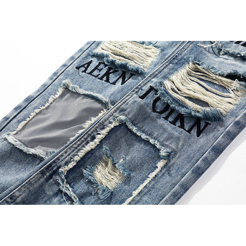 Aolamegs Biker Jeans Men Reflective Hole Denim Pants Mens Vintage Skinny Jeans Baggy Trousers Jean Fashion Streetwear Autumn