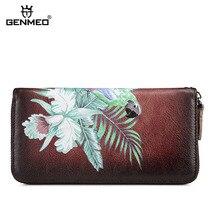 GENMEO Genuine Leather Vintage Wallet Women 3D Pattern Cowhide Clutch Dollars Bag Retro Coin Purse Card Holders Female Billetera