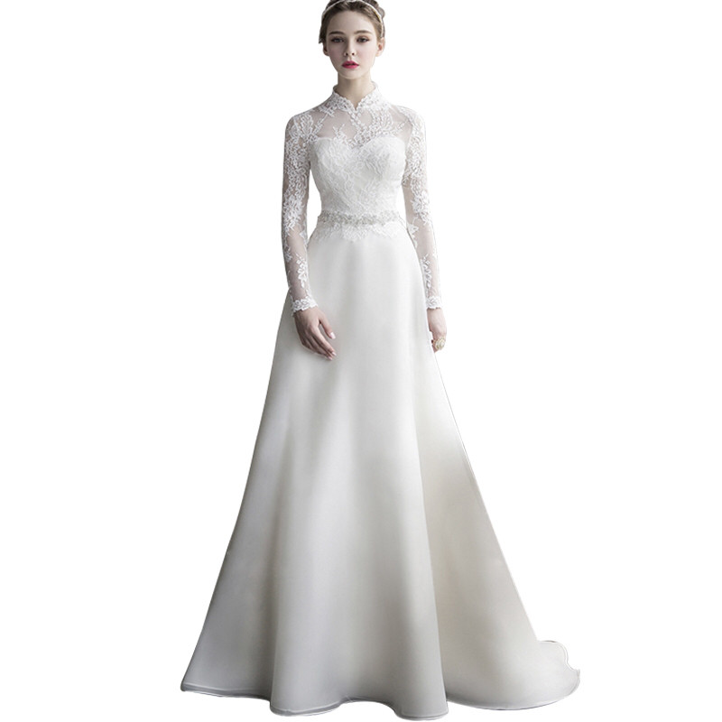 Holievery Vintage Long Sleeves Wedding Dresses With