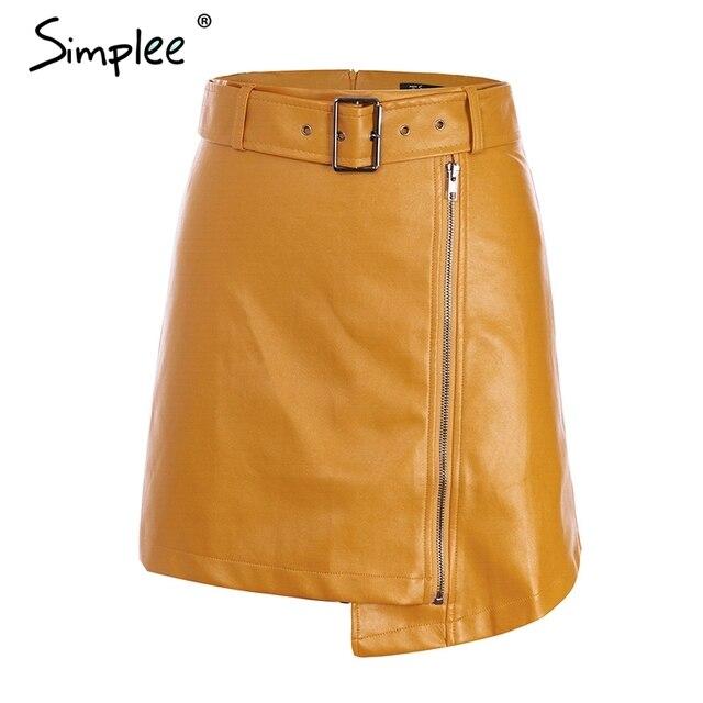 da9000749e2 Simplee сексуальная высокая талия искусственная кожа юбка Уличная ...