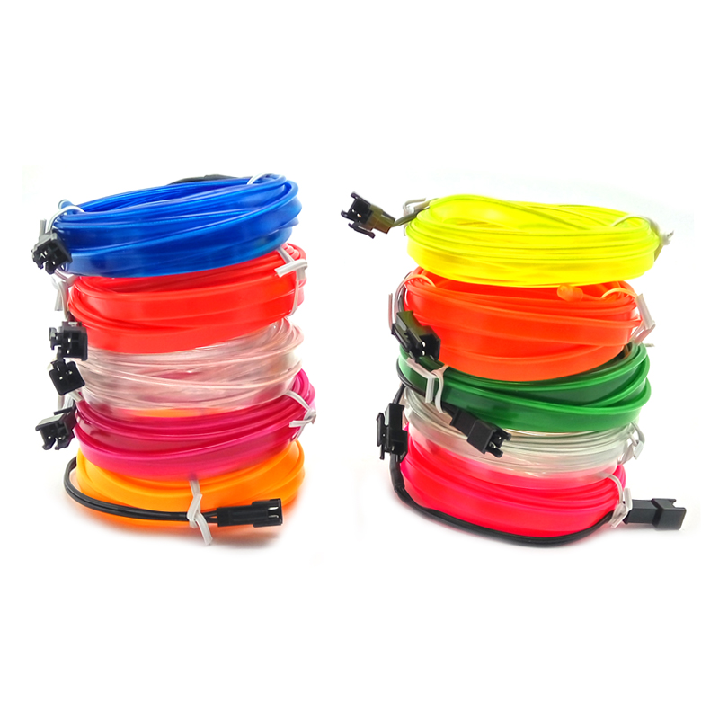 Car lights Neon Light Dance Party Decor Lamp Flexible EL Wire Rope Tube Waterproof LED Strip Rope Strip Light Car Styling 10color choice 10m blue flexible led neon light glow 2 3mm skirt el wire rope tube diy car interior decor dc12v sound controller