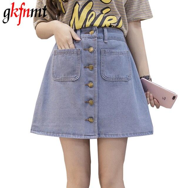 On sale 2019 Summer Skirt Womens A-line Denim Blue Mini Skirt High Waist Jeans Harajuku Pockets Jeans Skirt Button Open White