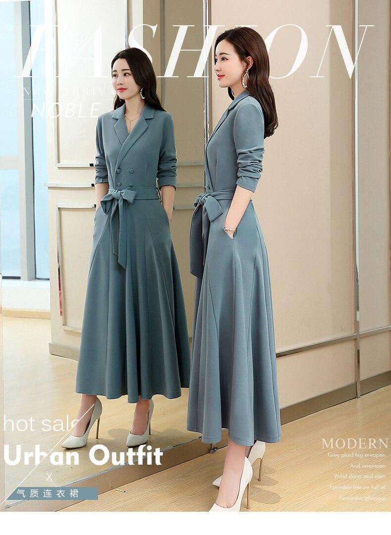Spring and Autumn 2019 New Women's Dresses Korean Edition Long Sleeve Dresses Overlap Long Popular Temperament with Bottom 107