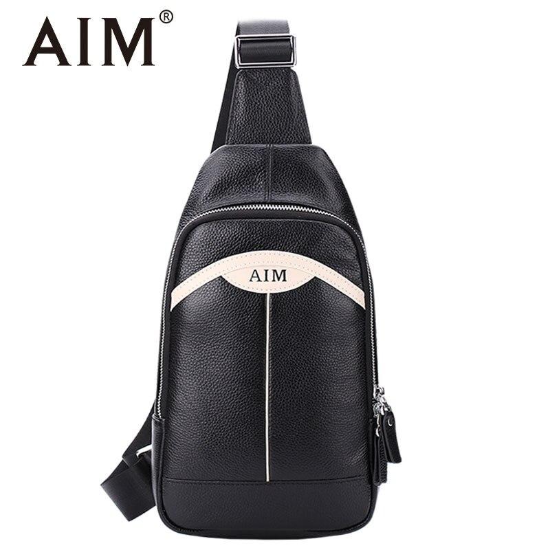 AIM Men Leather Chest Crossbody Bag Casual Male Messenger Bag High Quality Chest Waist Packs Genuine Leather Brand Designer цена